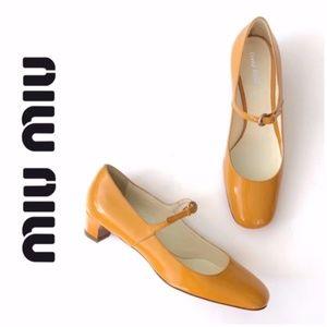 Miu Miu Yellow Mary Jane Leather Pumps